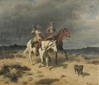 ritter und lesender begleiter zu pferde an der küste by wilhelm camphausen