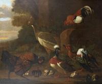 a peacock, cockerels, ducks and ducklings in a landscape by melchior de hondecoeter