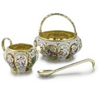 a sugar bowl, creamer and spoon set (set of 3) by maria semyonova