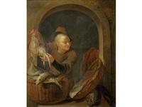 a fish seller at a casement by louis de moni