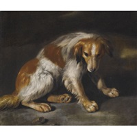 a spaniel seated in a landscape by arcangelo resani