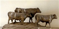 model of two bulls and a cow by george garrard
