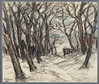 baumlandschaft im winter by hans kobinger
