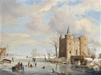 a winter landscape with figures ice skating by a castle; a winter landscape with figures ice skating by a mill (+ a winter landscape with figures ice skating by a small village; 2 works) by a. de groote