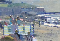 sennen, evening (+ newlyn pier; 2 works) by bo hilton