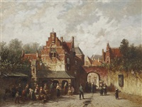 marketday near a townsgate by pieter gerardus vertin
