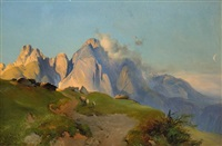 evening mood in the alps by austrian school (19)