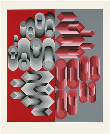 composition cinétique gris et rouge by victor vasarely