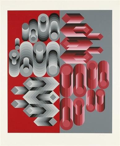 composition cinétique gris et rouge by victor vasarely