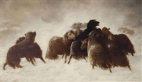 sheep in a snow storm by william charles anthony frerichs