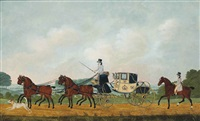 a coach and four, another horseman following behind by john cordrey