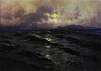 mareggiata a palermo, con monte pellegrino sullo sfondo, 1936 by rocco lentini