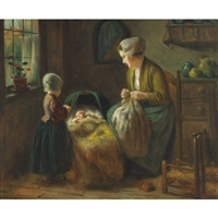 dutch interior with mother and children by jan ernst de groot