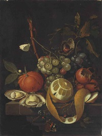grapes, a lemon, oysters, a chestnut, blackberries and other citrus fruits on a stone ledge with butterflies, a fly, a bee and ants by david cornelisz heem iii