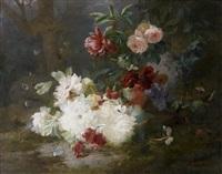 jetée de fleurs dans un sous bois by françois rivoire