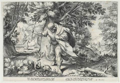 kampf gegen die schlangen blatt 8 from ovids metamorphosen after hendrik goltzius by robert willemsz de baudous