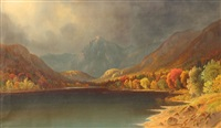 serene autumnal lakeside scene with snowcapped mountains in the distance and storm approaching by daniel charles grose