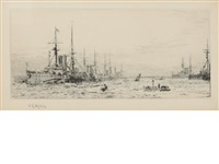 warships at port (+ 3 others; 4 works) by william lionel wyllie