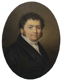 george lesaing, in black coat and waistcoat, white shirt and cravat, curling dark hair and sideburns by jean antoine laurent