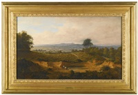 view of hampstead heath looking towards harrow-on-the-hill, st. mary's church on the horizon by thomas christopher hofland