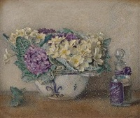 spring: cream and purple hydrangeas in a ceramic pot (+ a lady, wearing pale pink dress and bonnet, warming her hands by a fire; 2 works, 1 larger) by violet linton