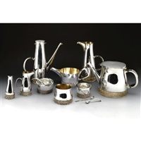 a four-piece tea and coffee set together with a condiment set and a sauce boat (set of 11) by christopher lawrence