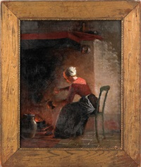 woman sitting in the glow of a hearth by enoch wood perry