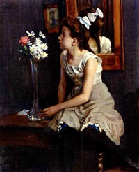 girl in the studio with flowers by erich hennig