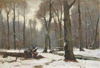winter in haagsche bosch: woodcutters at work by frits mondriaan