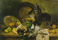 stilleben mit obst und geflügel by leo van aken