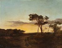bäuerin in weiter landschaft bei sonnenuntergang by cornelis lieste