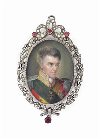 anton (1755-1836), king of saxony, in red coat with gold facings and gold-embroidered collar, silver epaulettes by jeremias david alexander fiorino