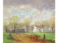 farmhouse landscape with farmer leading oxen by winfield scott clime