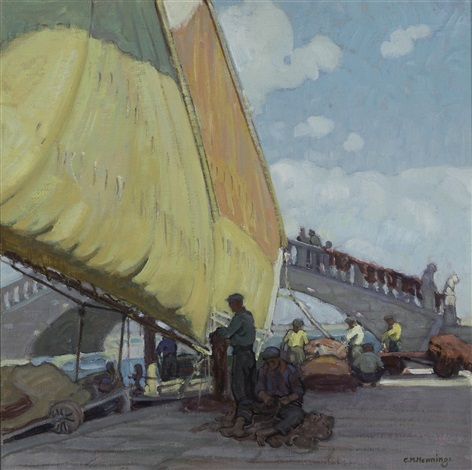fishermen mending nets port of vigo spain by ernest martin hennings