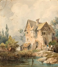 altes haus am see (+ seestrand, normandie, smaller; 2 works) by gustav von gasteiger