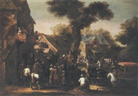 a crowded village scene with a messenger reading a proclamation by jan karel van eyck