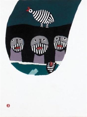 tori no yobu koe toi hi no yama 1967 2 works by umetaro azechi
