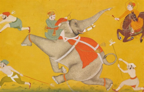 princes and handlers subdue a rampaging elephant by anonymous indian 18