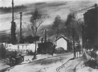 vorstadtstrasse im winter by gerhard hauptmann
