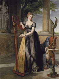 portrait of marie-denise smits, née gandolphe in a black dress, playing a harp in an interior by antoine jean joseph ansiaux
