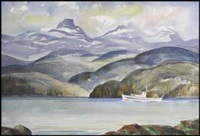 landscape with mountains and boat by ronald threlkeld jackson