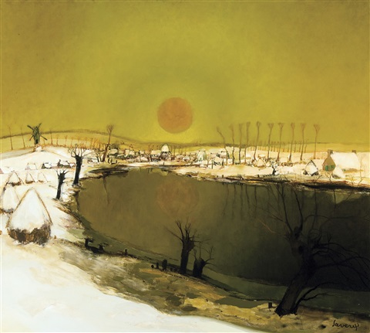 vue de la lys avec coucher de soleil by albert saverys