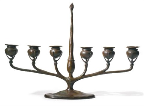 six light candelabrum with inset snuffer by tiffany studios