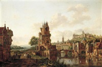 a view of a town by a river with peasants and travellers on a path in the foreground by hendrik frans de cort