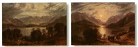 shepherd's view of a highland loch (+ days end in the view of a highland loch; 2 works) by g. leslie