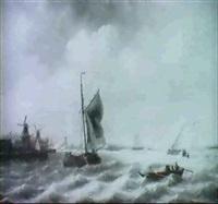 sailing-vessels near dordrecht by frans jacobus van den blyk