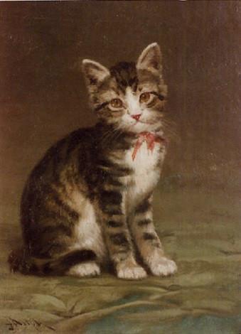 brown tabby kitten with a rose bow by john henry dolph on artnet