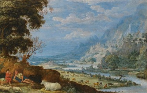 an extensive river landscape with mercury and argus by david teniers the elder