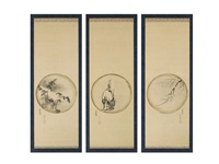 elderly figure and landscape (triptych) by isen'in
