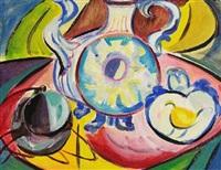 stillleben mit tintenfass (+ stillleben mit vase; 2 works) by annemarie jacob